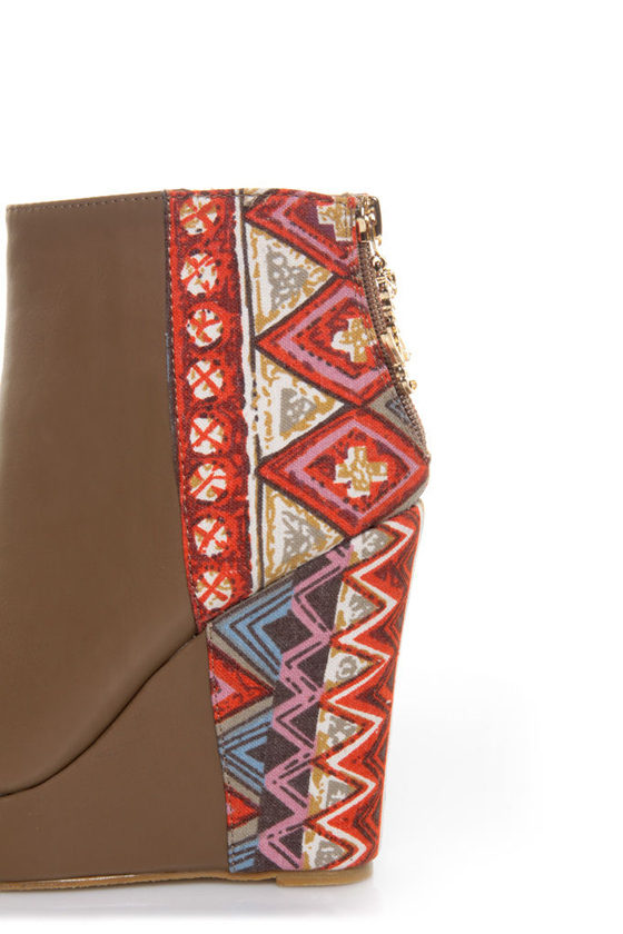 Privileged Moddy Taupe Print Color Block Wedge Ankle Boots