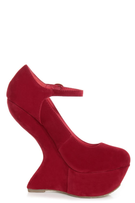 Privileged Monster Red Ankle Strap Heelless Platforms