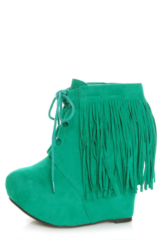 07c646b1e69 Privileged Nissa Green Lace-Up Fringe Wedge Booties -  65.00