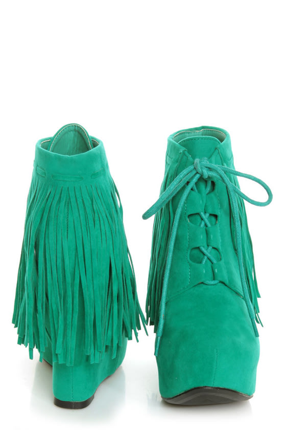 Privileged Nissa Green Lace-Up Fringe Wedge Booties at Lulus.com!
