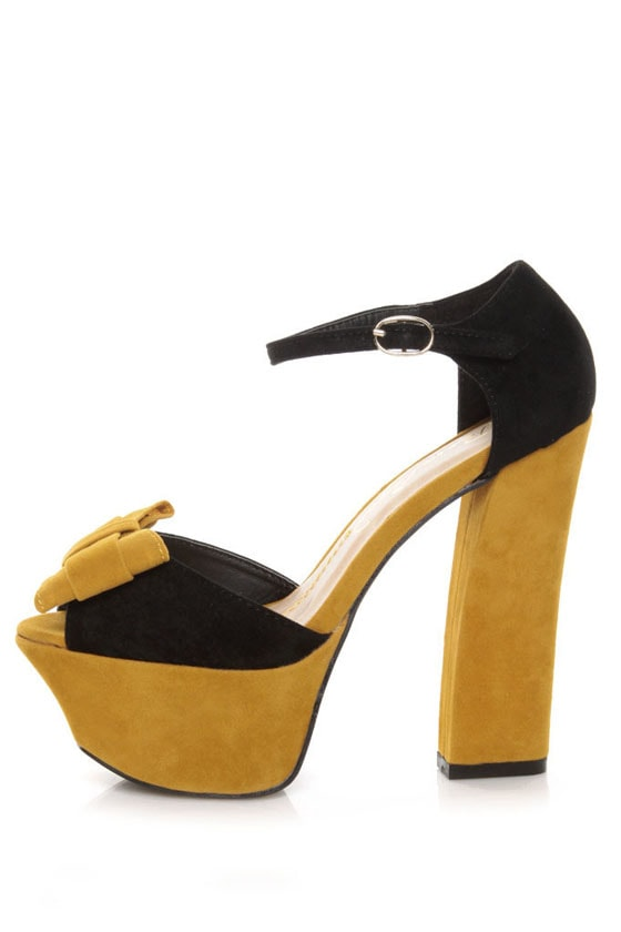 Privileged Poppy Black & Yellow Color Block Platform Heels