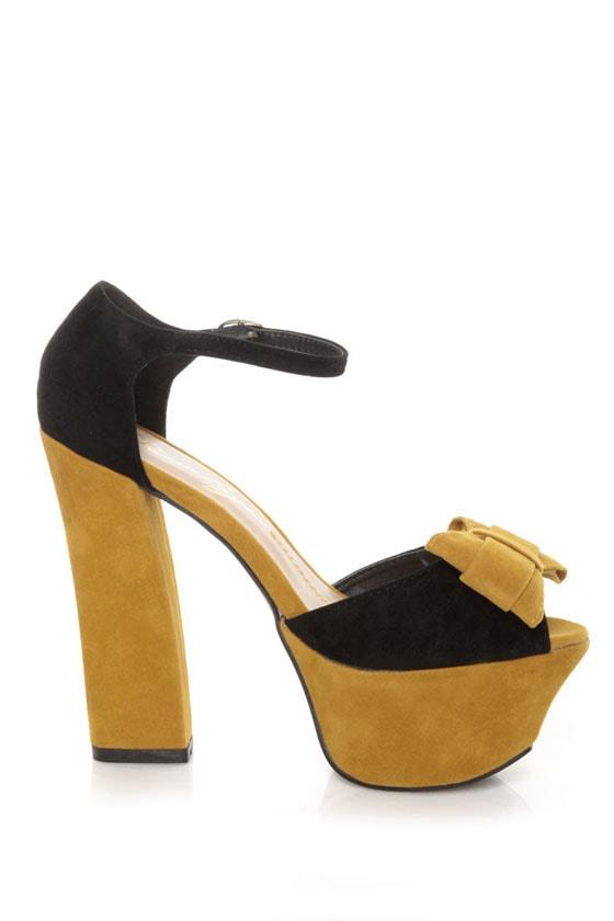 Privileged Poppy Black & Yellow Color Block Platform Heels