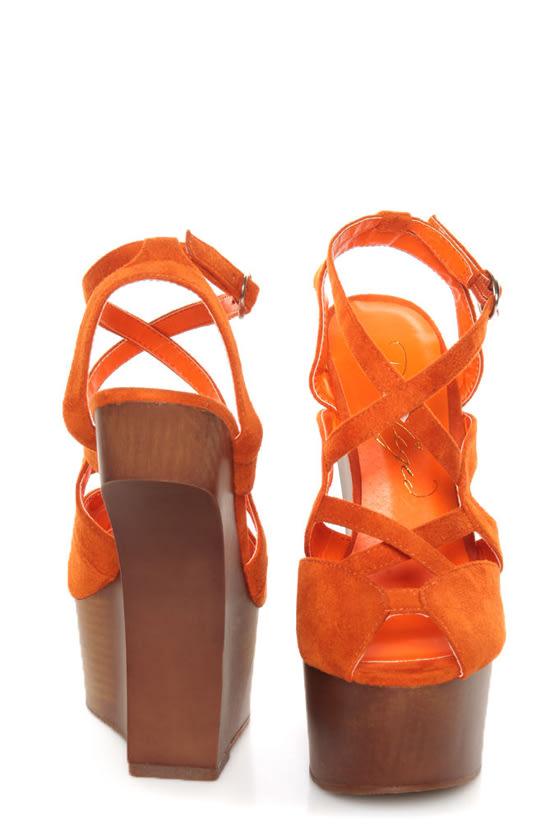 Privileged Sherman Orange Strappy Heelless Platforms at Lulus.com!