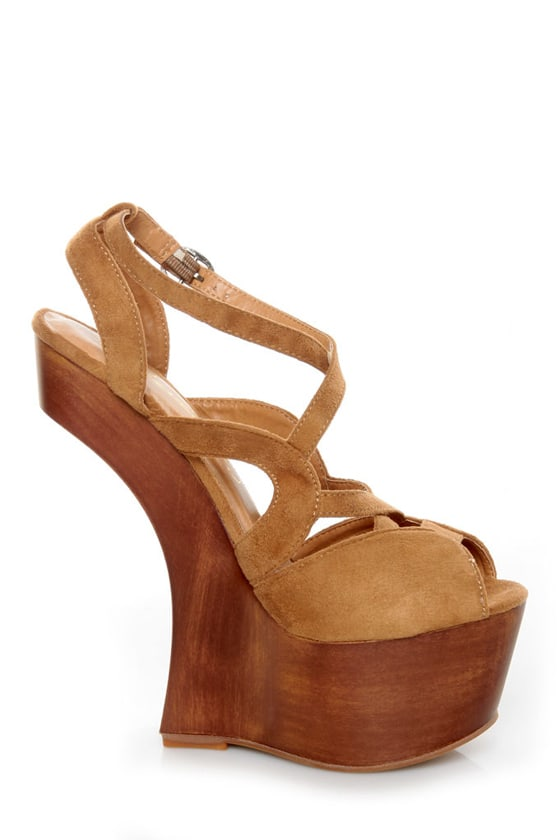 Privileged Sherman Tan Strappy Heelless Platforms