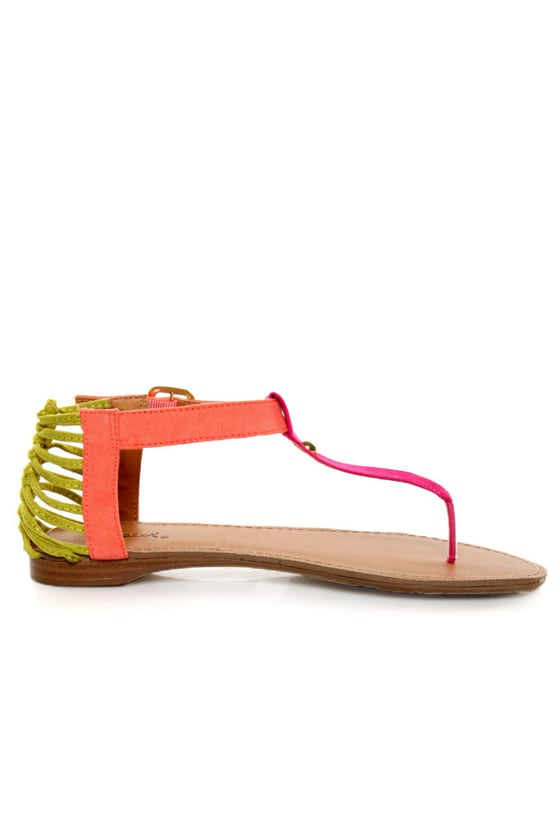 Qupid Agency 148 Fuchsia Suede Neon Color Block Thong Sandals