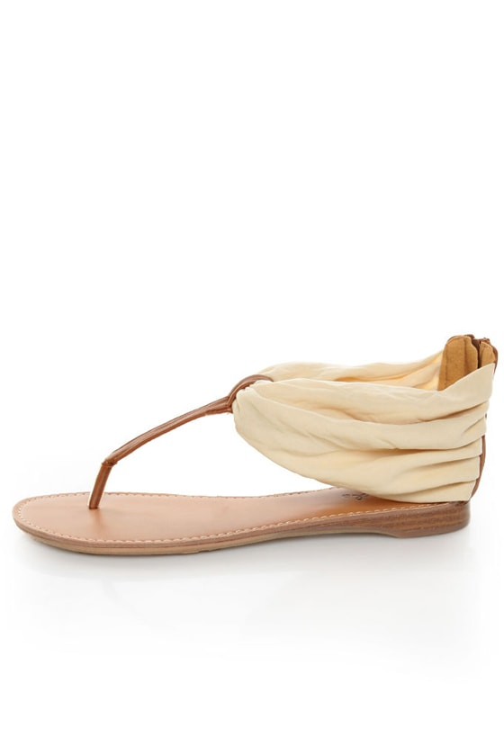 Qupid Agency 186 Beige Stretch Chiffon Ankle Cuff Thong Sandals