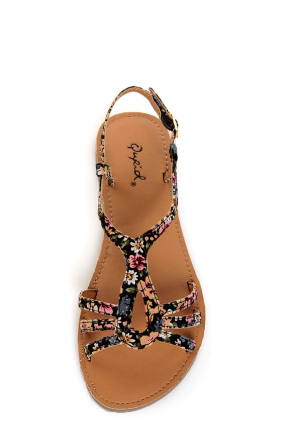 Qupid Athena 472A Black Fabric Tribal Print Strappy Flat Sandals