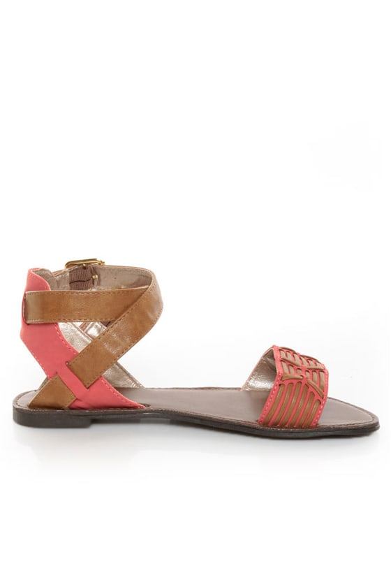 Qupid Athena 514A Tan & Coral Patterned Flat Sandals
