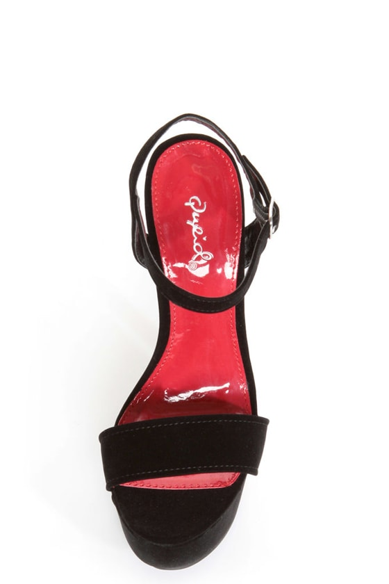 Qupid Brenner 06 Black Velvet Platform Heels at Lulus.com!