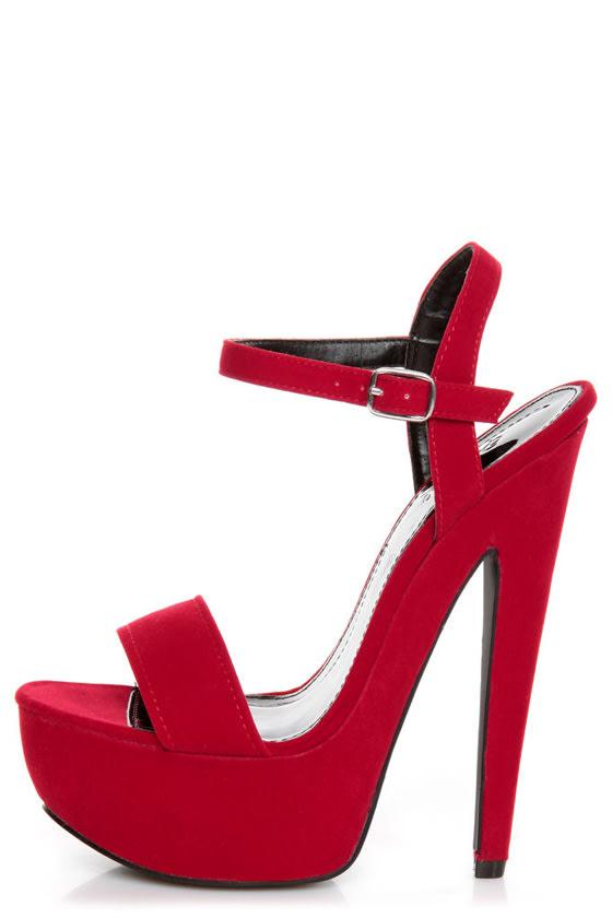 Qupid Brenner 06 Red Velvet Platform Heels