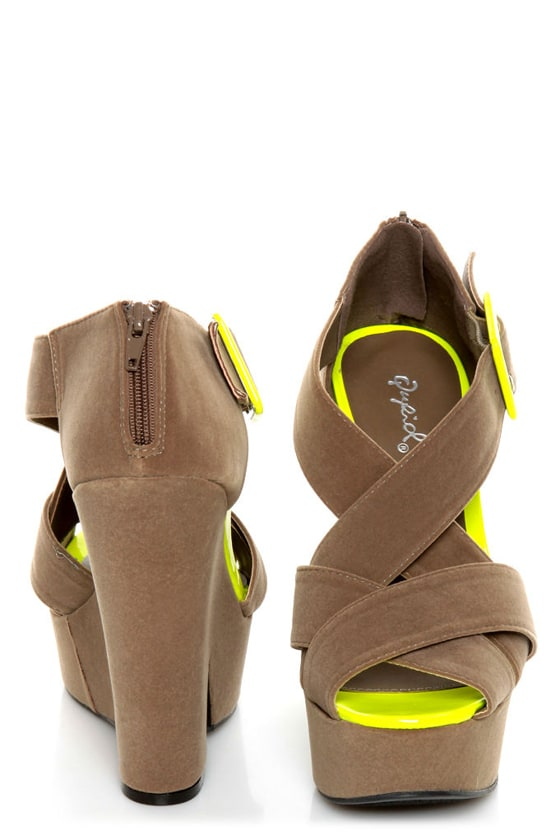 Qupid Burke 52 Taupe Velvet and Neon Yellow Platform Wedges