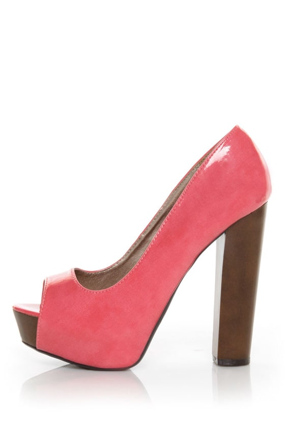 Qupid 36 Enclose 12 Coral Two Tone Patent Peep Toe Heels
