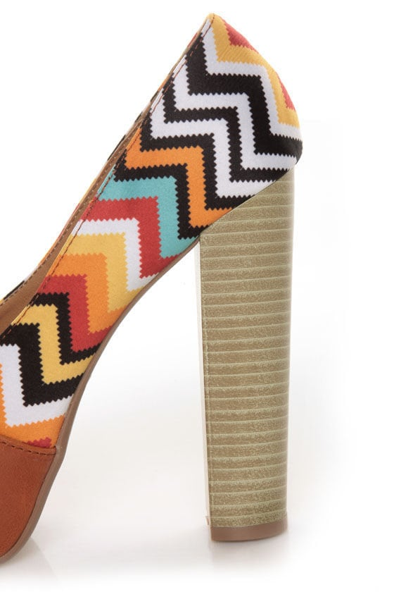 Qupid Enclose 45 Orange Print Color Block Platform Heels