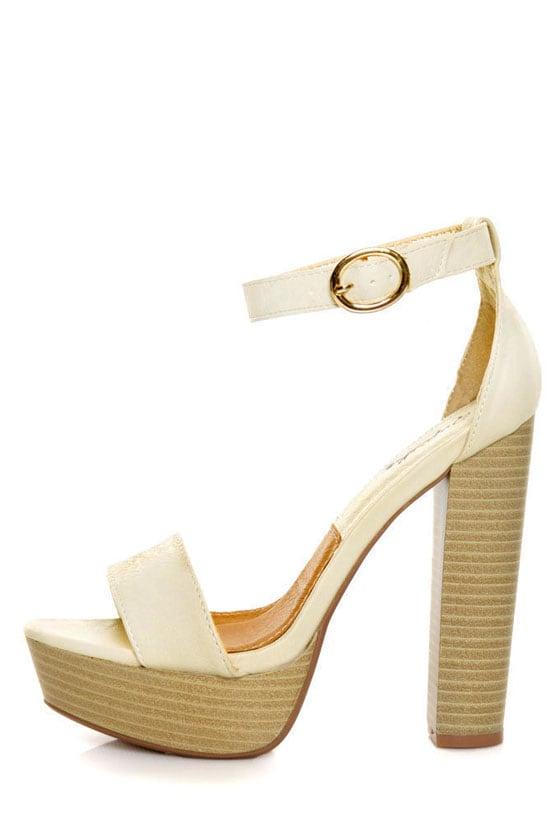 Qupid Enclose 56 Stone High Heel Platform Sandals - $34.00
