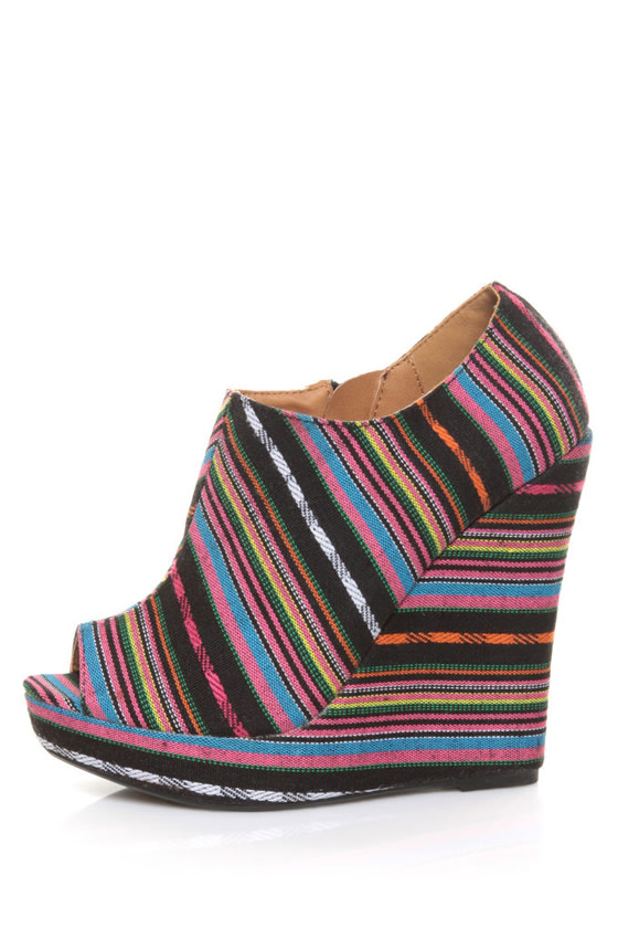 Qupid Enrich 124 Black Multi Stripe Peep Toe Wedge Booties