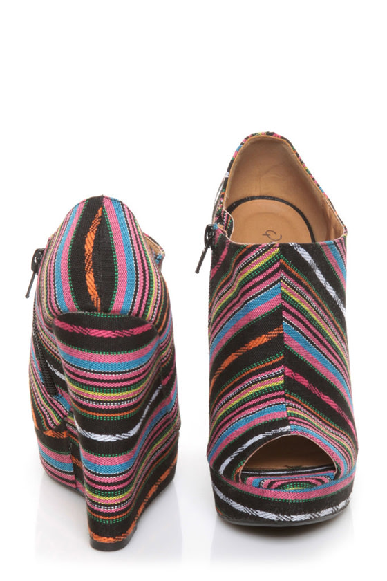 Qupid Enrich 124 Black Multi Stripe Peep Toe Wedge Booties