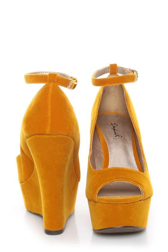 d1e3e1ad6c6 Qupid Finder 69 Mustard Velvet Sculpted Peep Toe Platform Wedges ...
