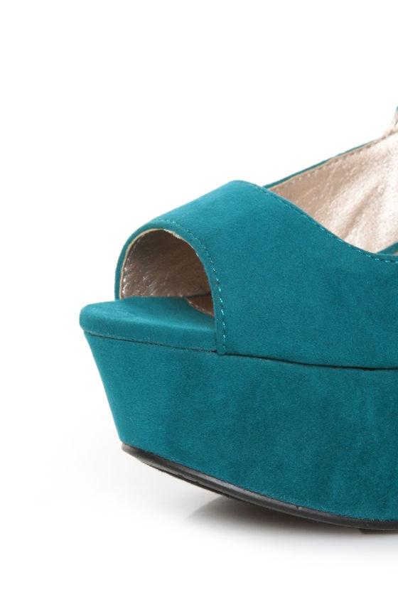 Qupid Finder 69 Teal Velvet Sculpted Peep Toe Platform Wedges