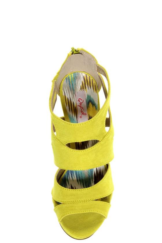 Qupid Gaze 239 Yellow Suede Strappy Bootie Pumps