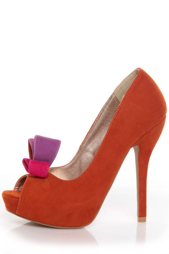 Qupid Heigl 18 Orange Velvet Bow-na fide Peep Toe Pumps