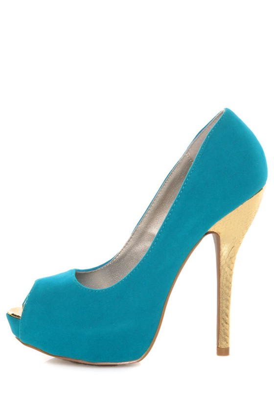 Qupid Heigl 82 Turquoise Velvet & Gold Peep Toe Pumps