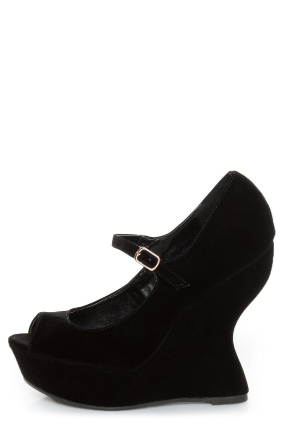 Qupid Jillian 02 Black Velvet Peep Toe Heelless Platforms