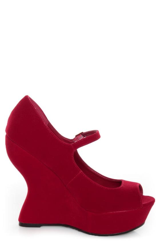 Qupid Jillian 02 Red Velvet Peep Toe Heelless Platforms