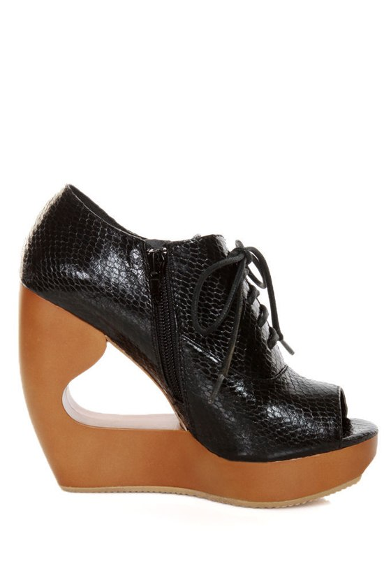 Qupid Lisbeth 06 Black Snake Architectural Cutout Wedge Booties