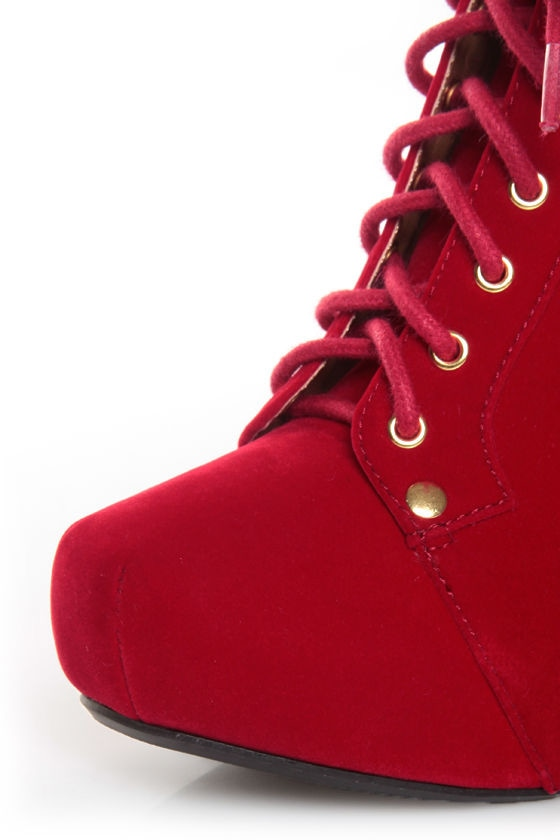 Qupid Luxe Velocity Red Velvet Studded Lace-Up Booties