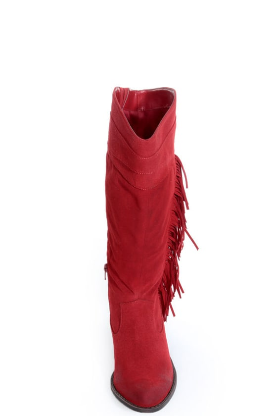 Qupid Mariska 15 Red Oil Finish Suede Fringe Cowboy Boots