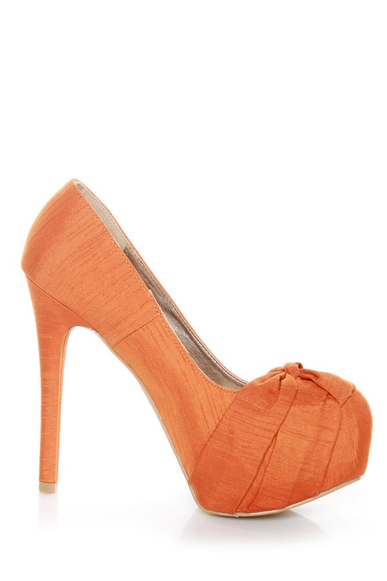 Qupid Marquise 10 Orange Thai Silk Knotty Bow Platform Pumps