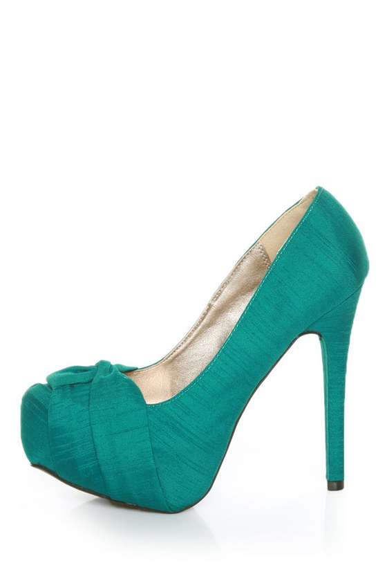 Qupid Marquise 10 Teal Thai Silk Knotty Bow Platform Pumps