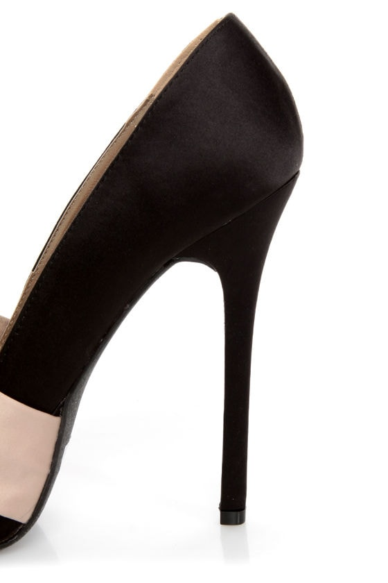 Qupid Miriam 70 Black Matte Satin Knotty Bow Platform Pumps