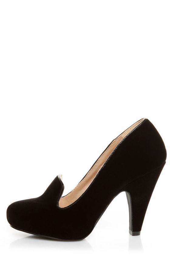 Qupid Nadine 65 Black Velvet Smoking Slipper High Heels - $34.00