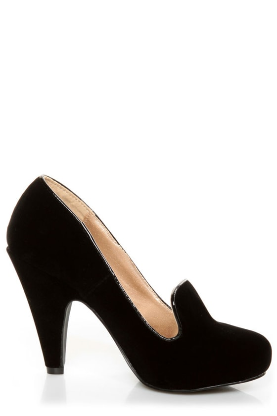 Qupid Nadine 65 Black Velvet Smoking Slipper High Heels at Lulus.com!