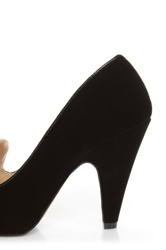 Qupid Nadine 65 Black Velvet Smoking Slipper High Heels