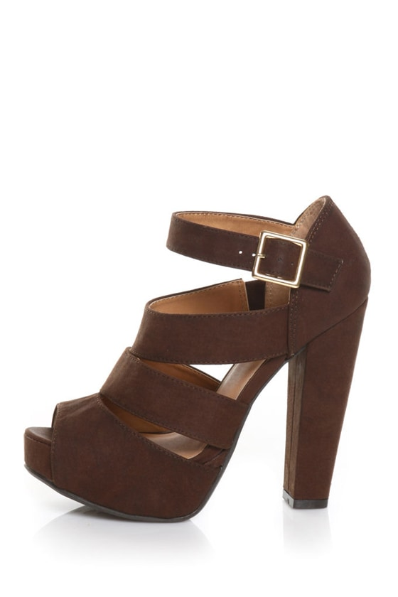 Qupid Naima 08 Cognac Burnish Chunky Heels
