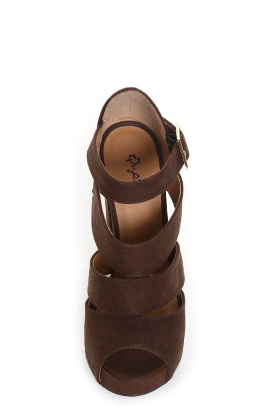 Qupid Naima 08 Cognac Burnish Chunky Heels