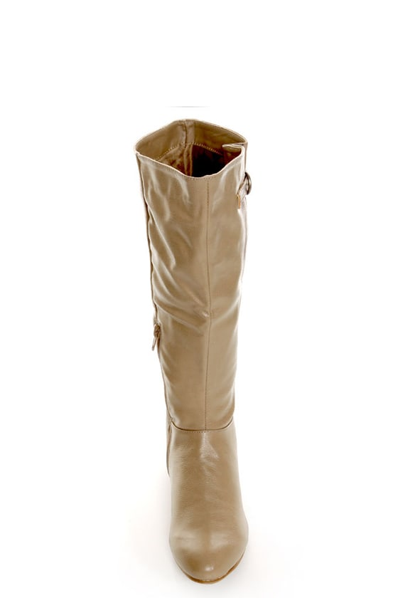 Qupid Nesha 70 Taupe Knee High Sliver Wedge Boots