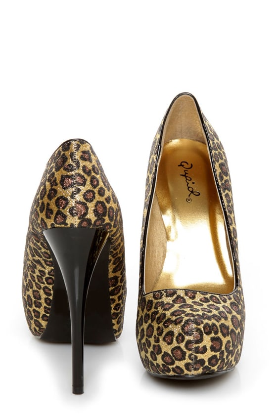 Qupid Neutral 107 Gold Bronze Leopard Glitter Platform Pumps
