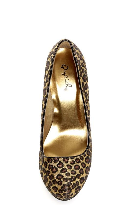 Qupid Neutral 107 Gold Bronze Leopard Glitter Platform Pumps