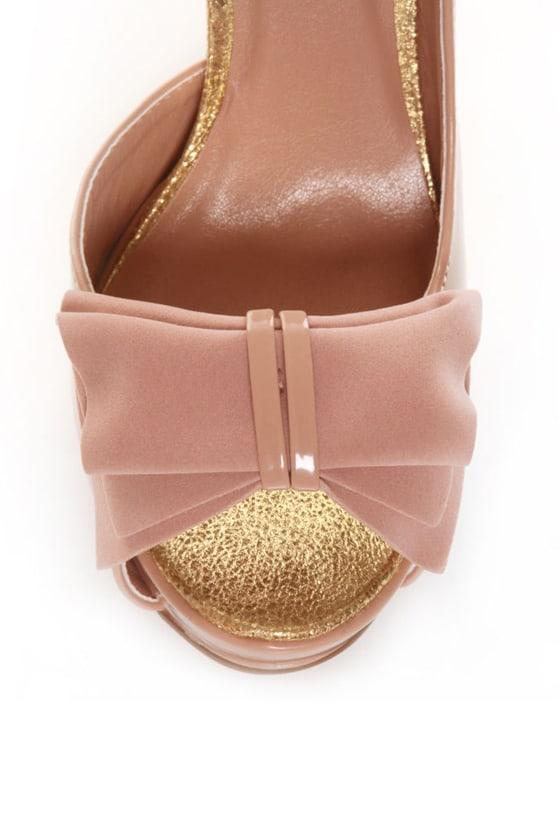 Qupid Neutral 130 Blush Pink Patent & Velvet Peep Toe Pumps