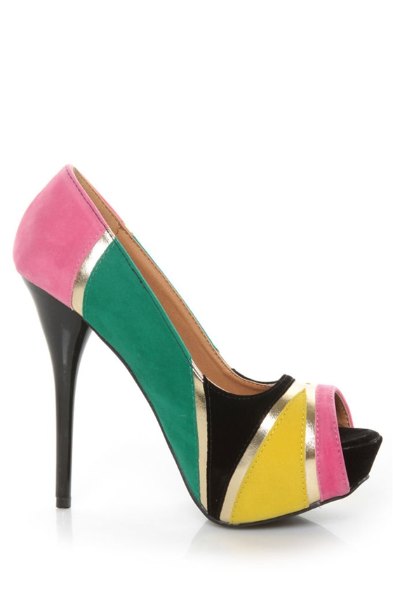 Qupid Neutral 196 Black Velvet Retro Color Block Platform Pumps