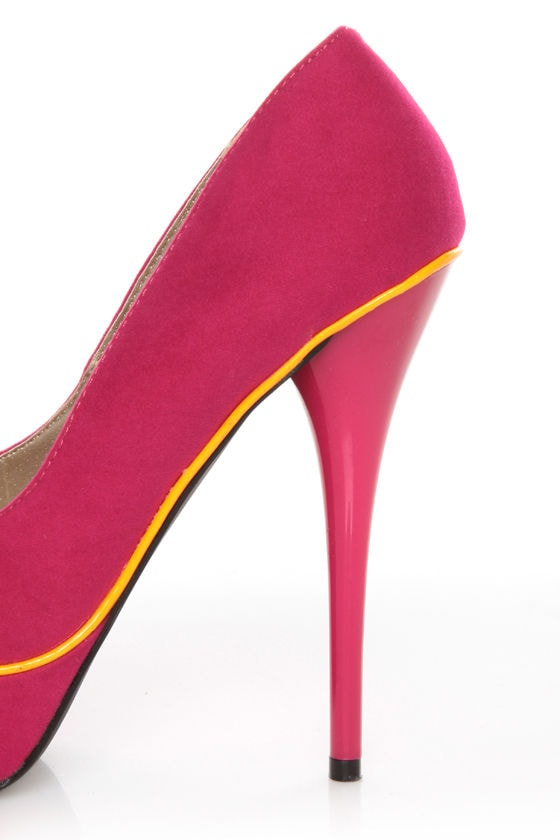Qupid Neutral 266 Fuchsia Velvet Neon-Trimmed Platform Pumps at Lulus.com!