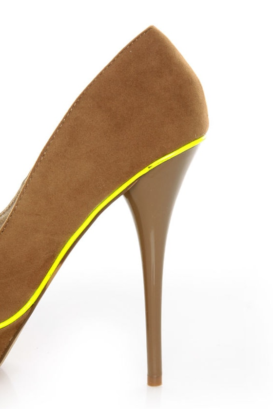 Qupid Neutral 266 Taupe Velvet Neon-Trimmed Platform Pumps at Lulus.com!