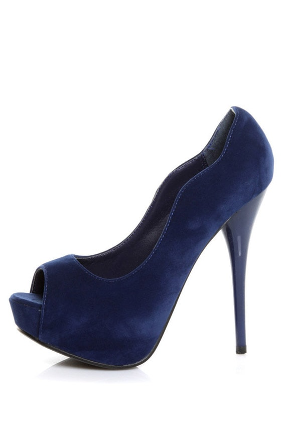 Qupid Neutral 35 Blue Velvet Curvy Peep Toe Pumps