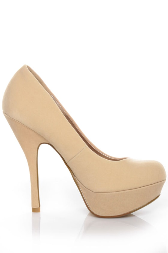 Qupid Onyx 01 Nude Velvet Party Platform Pumps