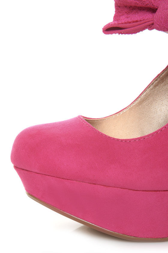 Qupid Onyx 74 Fuchsia Suede Lacy Bow Mary Jane Platform Pumps