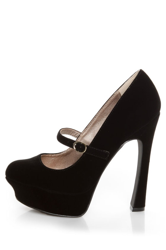 Qupid Pageant 25 Black Velvet Platform Mary Jane Pumps