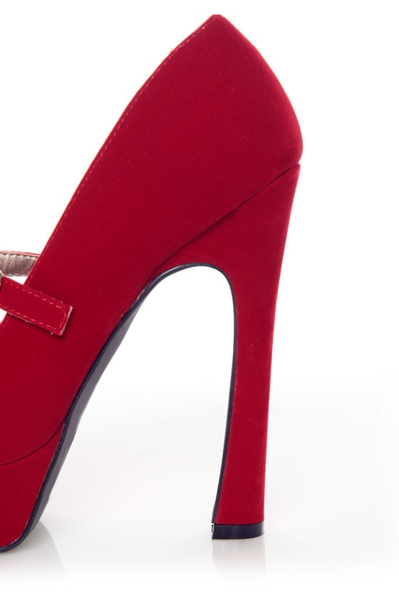 Qupid Pageant 25 Red Velvet Platform Mary Jane Pumps